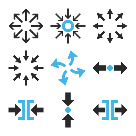implode: Compress and Explode Arrows vector icon set. Collection style is bicolor blue and gray flat symbols on a white background. Illustration