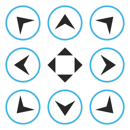 arrowheads: Circled Arrowheads vector icon set. Collection style is bicolor blue and gray flat symbols on a white background.