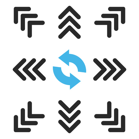 redirect: Directions vector icon set. Collection style is bicolor blue and gray flat symbols on a white background.