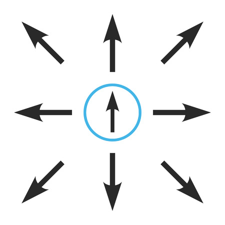 Directions jeu d'icônes vectorielles. Le style de collection est des symboles plats bicolores bleus et gris sur un fond blanc.