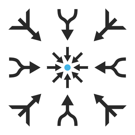 consolidation: Merge Arrows vector icon set. Collection style is bicolor blue and gray flat symbols on a white background. Illustration