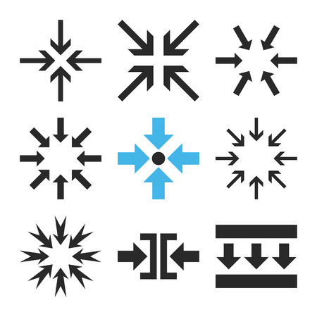 implode: Minimize Arrows vector icon set. Collection style is bicolor blue and gray flat symbols on a white background.