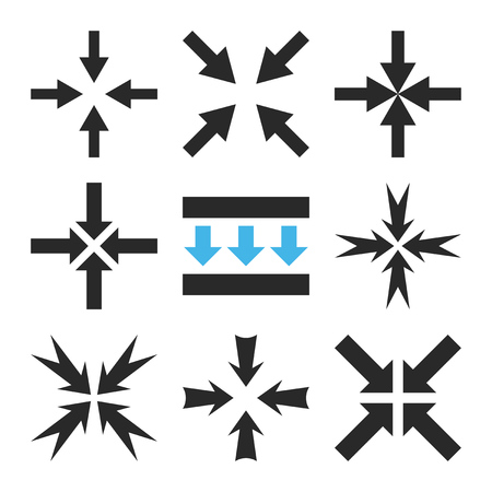 implode: Pressure Arrows vector icon set. Collection style is bicolor blue and gray flat symbols on a white background.