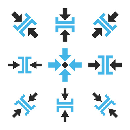 implode: Pressure Directions vector icon set. Collection style is bicolor blue and gray flat symbols on a white background.