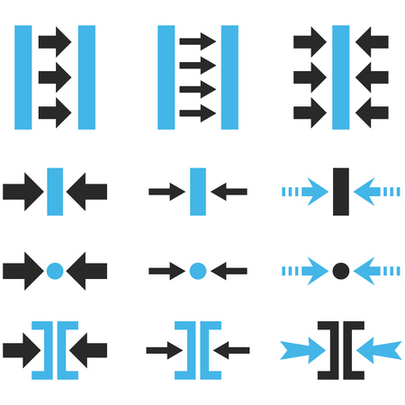 implode: Pressure Horizontal vector icon set. Collection style is bicolor blue and gray flat symbols on a white background.
