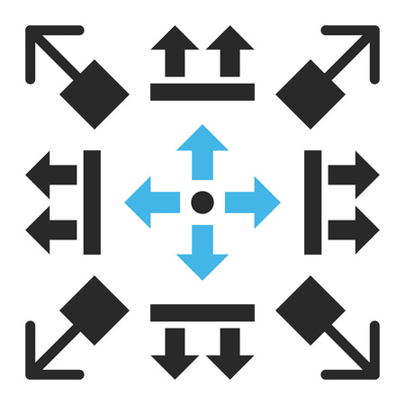 backwards: Pull Arrows vector icon set. Collection style is bicolor blue and gray flat symbols on a white background. Illustration
