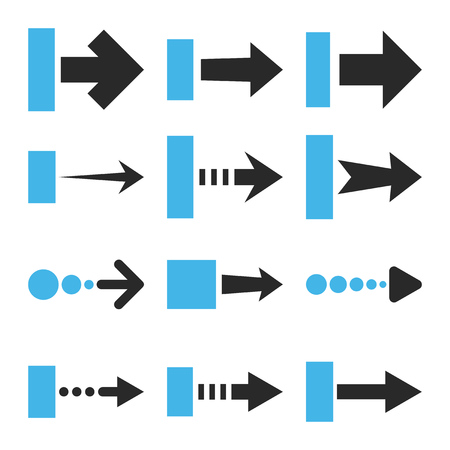 redirect: Pull Right vector icon set. Collection style is bicolor blue and gray flat symbols on a white background.