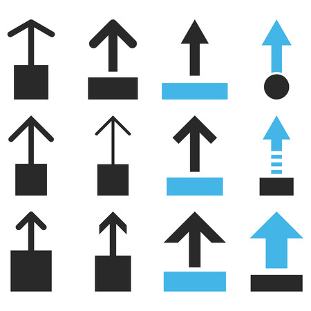 pull up: Pull Up vector icon set. Collection style is bicolor blue and gray flat symbols on a white background. Illustration