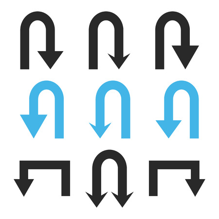 Turn Back Arrows vector icon set. Collection style is bicolor blue and gray flat symbols on a white background.  イラスト・ベクター素材