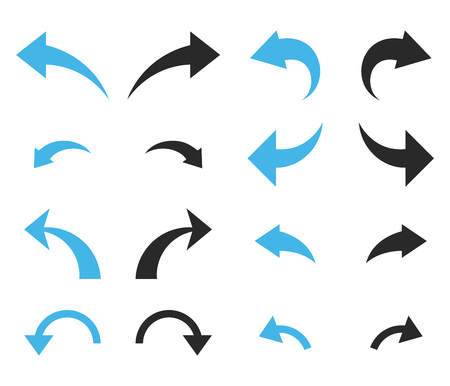 Undo and Redo vector icon set. Collection style is bicolor blue and gray flat symbols on a white background. Vector Illustration
