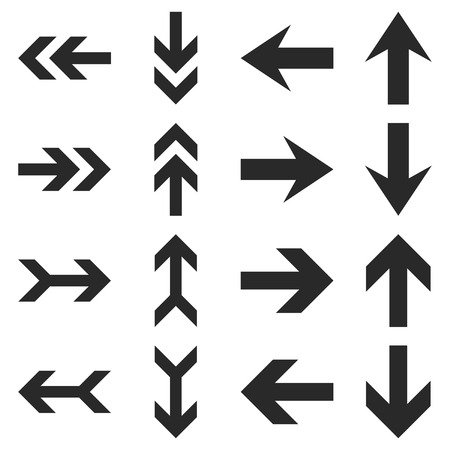 penetrating: Arrow Directions vector icon set. Collection style is gray flat symbols on a white background. Illustration