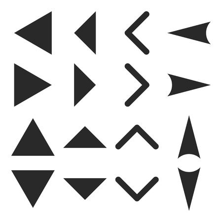 arrowheads: Arrowheads vector icon set. Collection style is gray flat symbols on a white background.