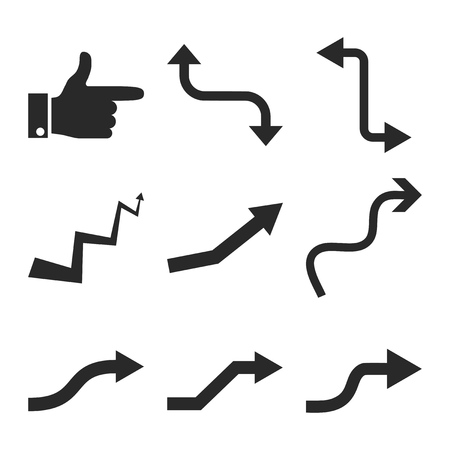 directions icon: Curved Way Directions vector icon set. Collection style is gray flat symbols on a white background.