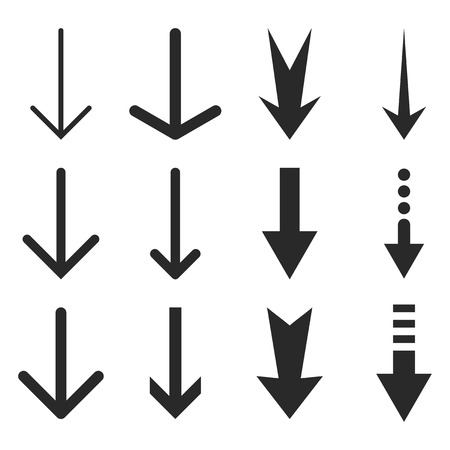 Down Arrows vector icon set. Collection style is gray flat symbols on a white background.