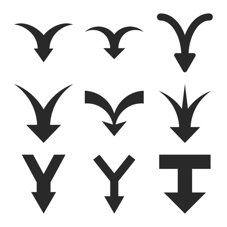merge together: Join Arrows Down vector icon set. Collection style is gray flat symbols on a white background. Illustration