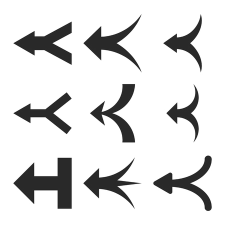 redirect: Join Arrows Left vector icon set. Collection style is gray flat symbols on a white background.