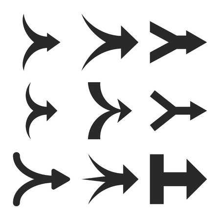 Join Arrows Right vector icon set. Collection style is gray flat symbols on a white background.