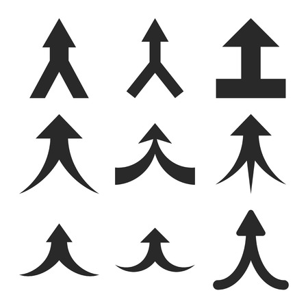 Join Arrows Up vector icon set. Collection style is gray flat symbols on a white background. Vectores