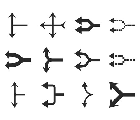 redirect: Junction Arrows Left vector icon set. Collection style is gray flat symbols on a white background. Illustration