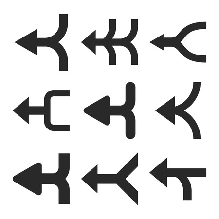 Merge Arrows Left vector icon set. Collection style is gray flat symbols on a white background. Stock Illustratie