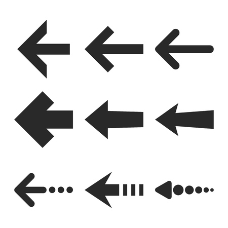 redirect: Left Arrows vector icon set. Collection style is gray flat symbols on a white background. Illustration