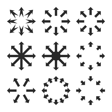 maximize: Maximize Arrows vector icon set. Collection style is gray flat symbols on a white background.