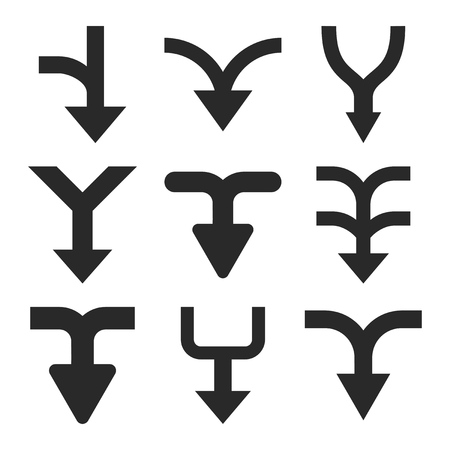 redirect: Merge Arrows Down vector icon set. Collection style is gray flat symbols on a white background. Illustration