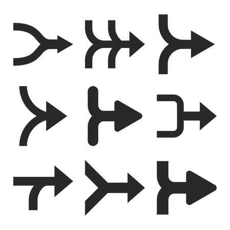 redirect: Merge Arrows Right vector icon set. Collection style is gray flat symbols on a white background.