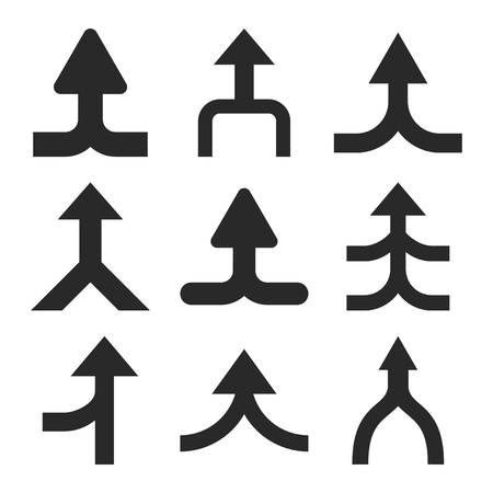 consolidation: Merge Arrows Up vector icon set. Collection style is gray flat symbols on a white background.