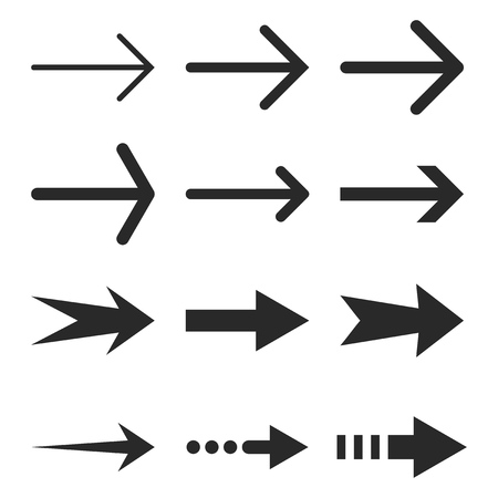 redirect: Right Arrows vector icon set. Collection style is gray flat symbols on a white background.
