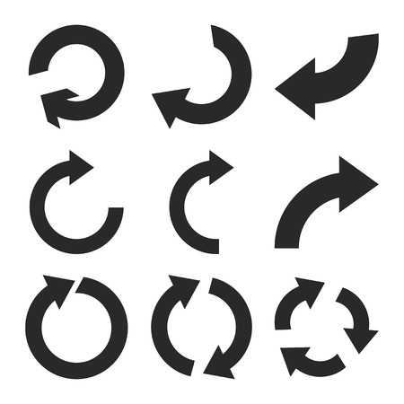 Rotate Clockwise vector icon set. Collection style is gray flat symbols on a white background.