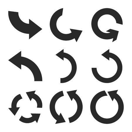 counterclockwise: Rotate Counterclockwise vector icon set. Collection style is gray flat symbols on a white background.