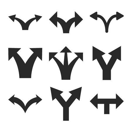 Flèches séparées vecteur icon set. style Collection est des symboles plats gris sur un fond blanc. Vecteurs