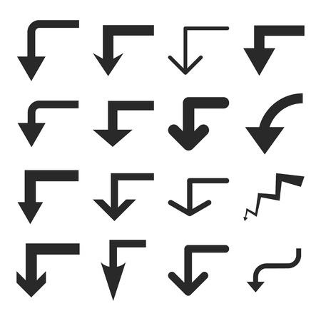 turn down: Turn Down vector icon set. Collection style is gray flat symbols on a white background.