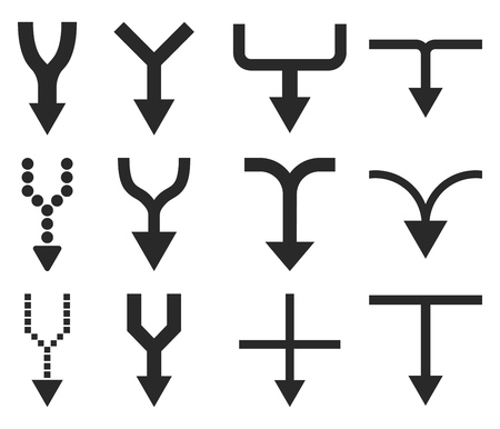 unite: Unite Arrows Down vector icon set. Collection style is gray flat symbols on a white background.