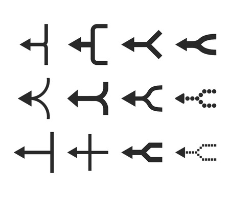 unite: Unite Arrows Left vector icon set. Collection style is gray flat symbols on a white background.