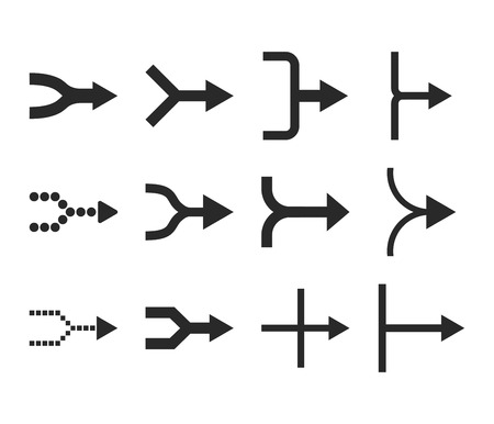 unite: Unite Arrows Right vector icon set. Collection style is gray flat symbols on a white background.