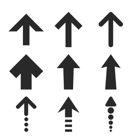 upward movements: Up Arrows vector icon set. Collection style is gray flat symbols on a white background. Illustration