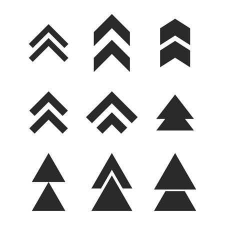 upward movements: Up Direction vector icon set. Collection style is gray flat symbols on a white background.