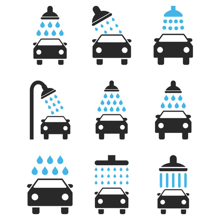disinfectant: Car Shower vector icon set. Style is bicolor blue and gray flat symbols isolated on a white background.