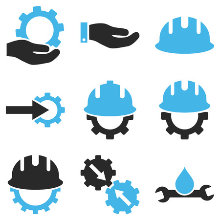 contractor: Development vector icon set. Style is bicolor blue and gray flat symbols isolated on a white background.