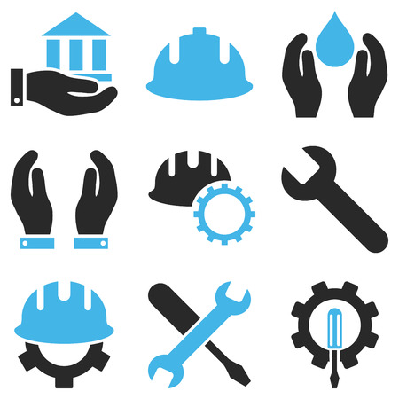 carpentry tools: Service Tools vector icon set. Style is bicolor blue and gray flat symbols isolated on a white background.
