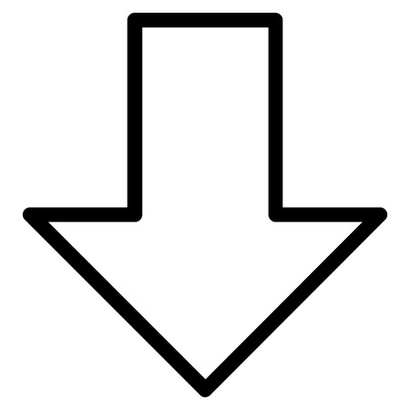 failing: Arrow Down vector icon. Style is contour icon symbol, black color, white background. Illustration