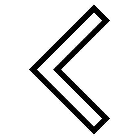 arrowhead: Arrowhead Left vector icon. Style is contour icon symbol, black color, white background.