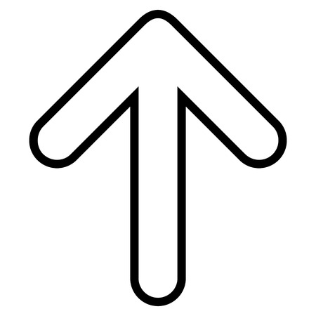 top pointer: Rounded Arrow Up vector icon. Style is contour icon symbol, black color, white background. Illustration