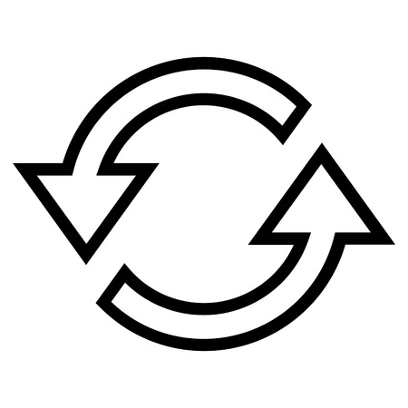 sync: Sync Arrows vector icon. Style is thin line icon symbol, black color, white background. Illustration