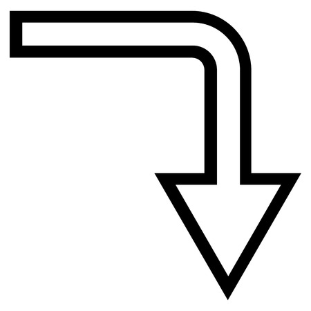 turn down: Turn Down vector icon. Style is outline icon symbol, black color, white background.