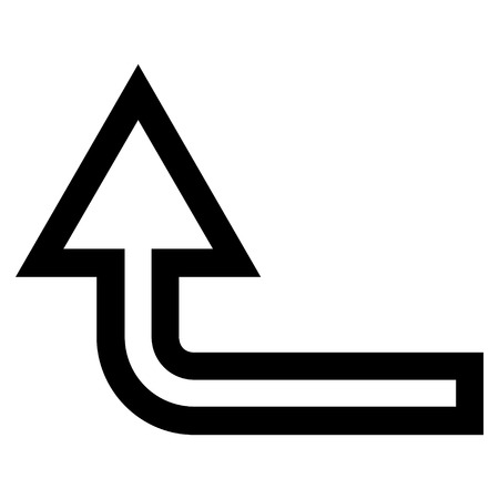 turn up: Turn Up vector icon. Style is outline icon symbol, black color, white background.