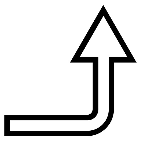 turn up: Turn Up vector icon. Style is contour icon symbol, black color, white background.