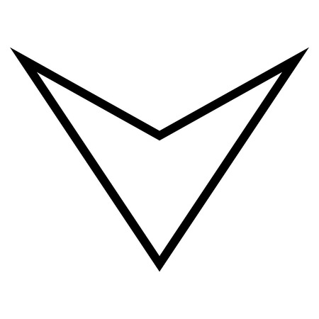 arrowhead: Arrowhead Down vector icon. Style is outline icon symbol, intensive red and black color, white background. Illustration